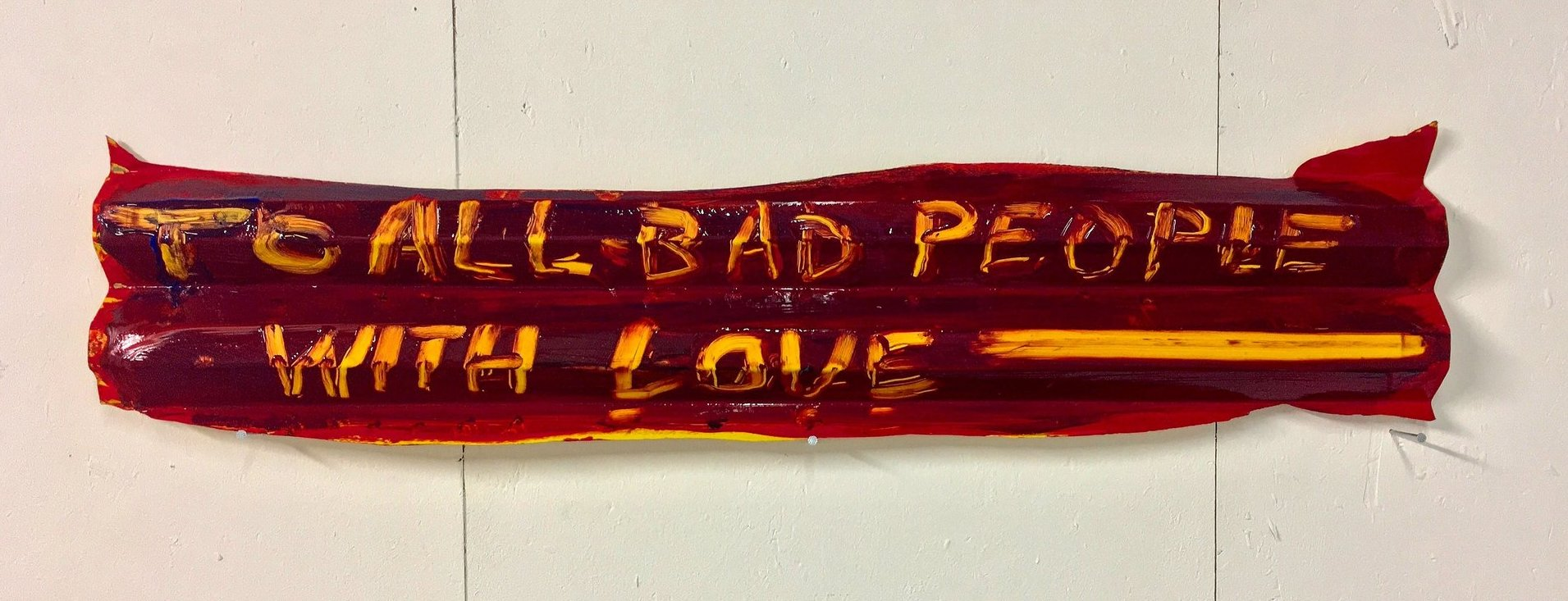 Adriano Costa, FreeBeer (To All Bad People With Love), 2017, acrylic on found object